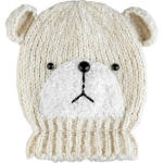 cream knit bear beanie hat