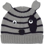 grey stripe knitted patch eye dog beanie