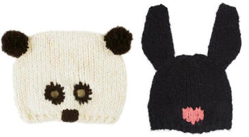 cream knitted panda with black ears beanie