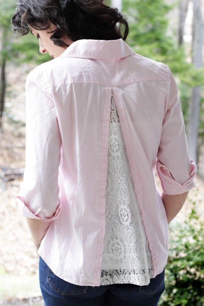 Декор старой блузки с помощью кружева