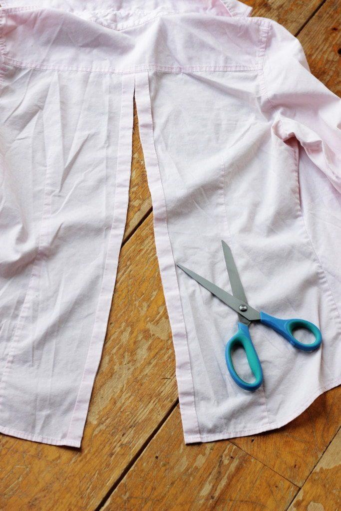 Разрез спинки рубажки до уровня лопаток