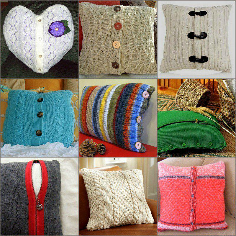 Уютные подушки из вязаной одежды