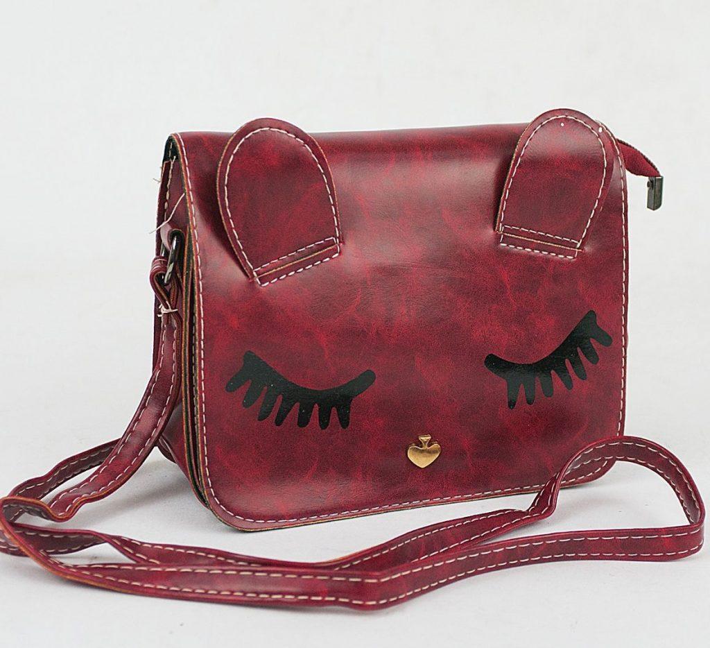 Бордовая сумка с ушками