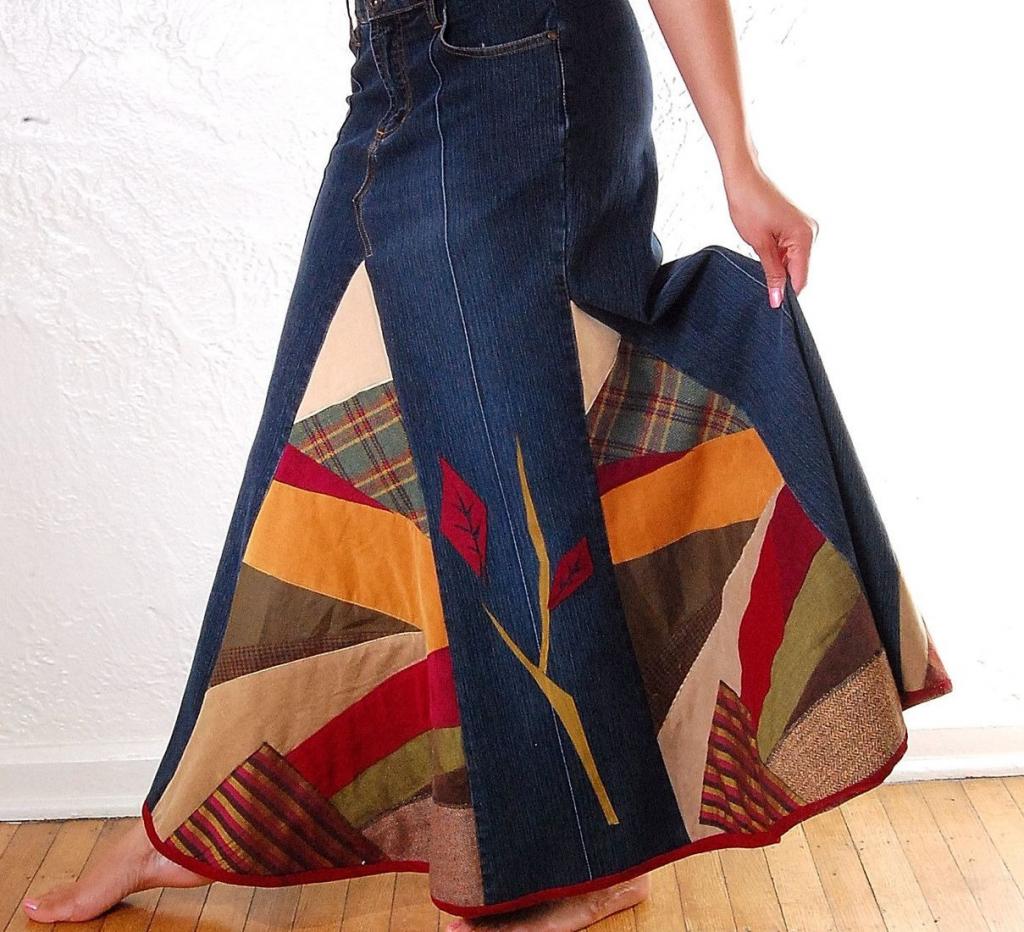 Юбка из джинсов и ткани