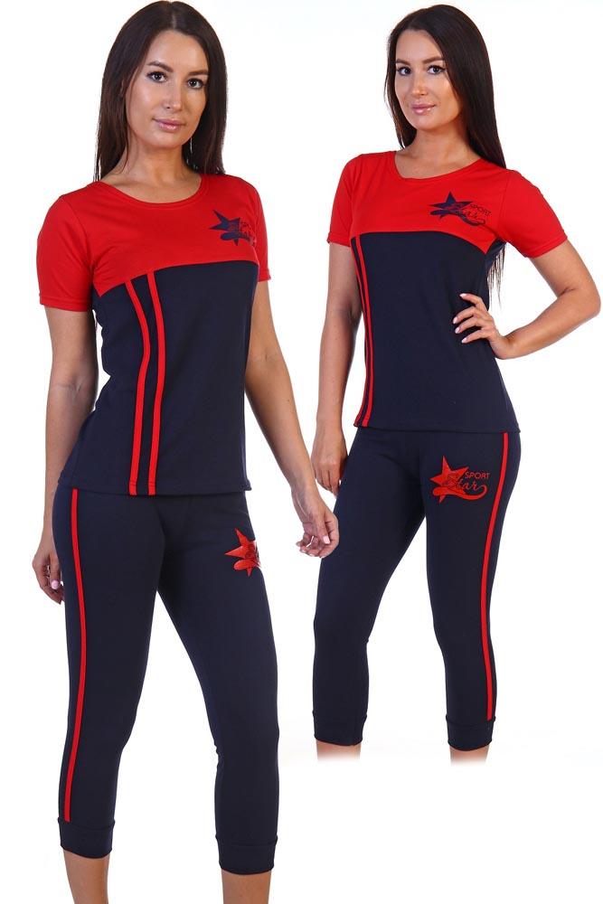 Трикотажный спортивный красно-чёрный костюм