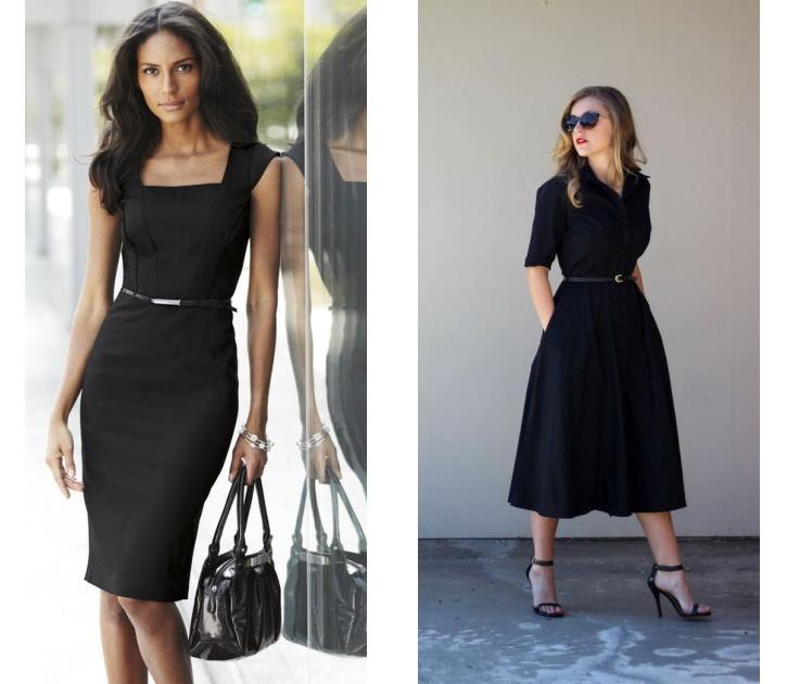 Варианты строгих чёрных платьев