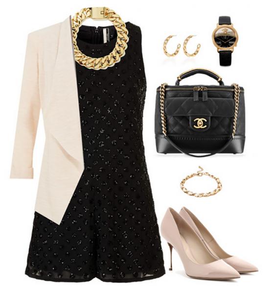 Нарядный образ с маленьким чёрным платьем