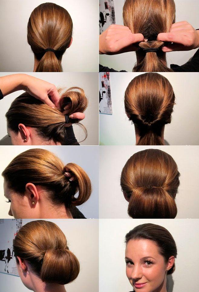 Пучок для волос средней длины