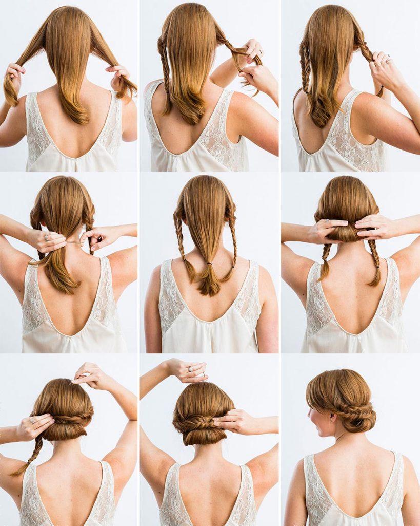 Причёска из кос и пучка