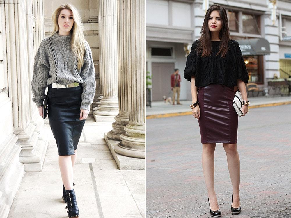 Сочетание кожаной юбки со свитером