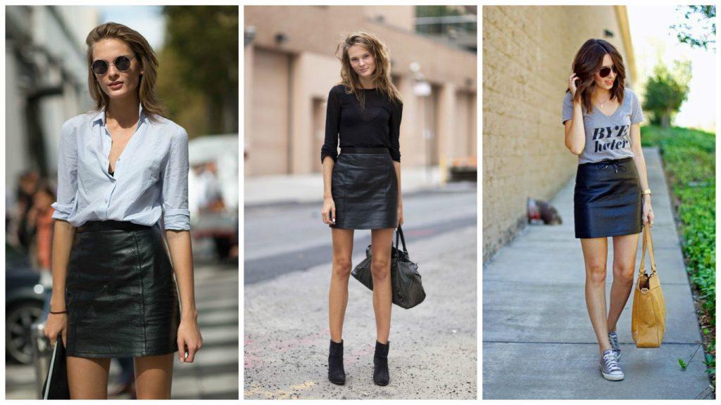 Различные сочетания кожаных юбок
