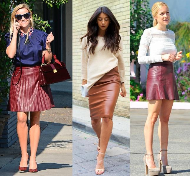 Разные варианты кожаных юбок