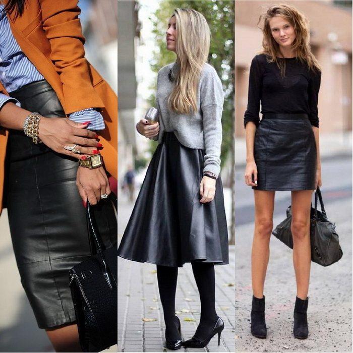 «Карандаш» и расклешённые кожаные юбки