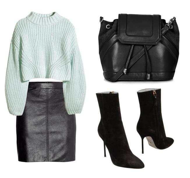 Сочетание чёрных вещей со светлым свитером