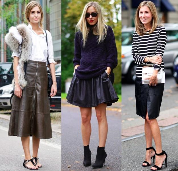 Свободные варианты кожаных юбок