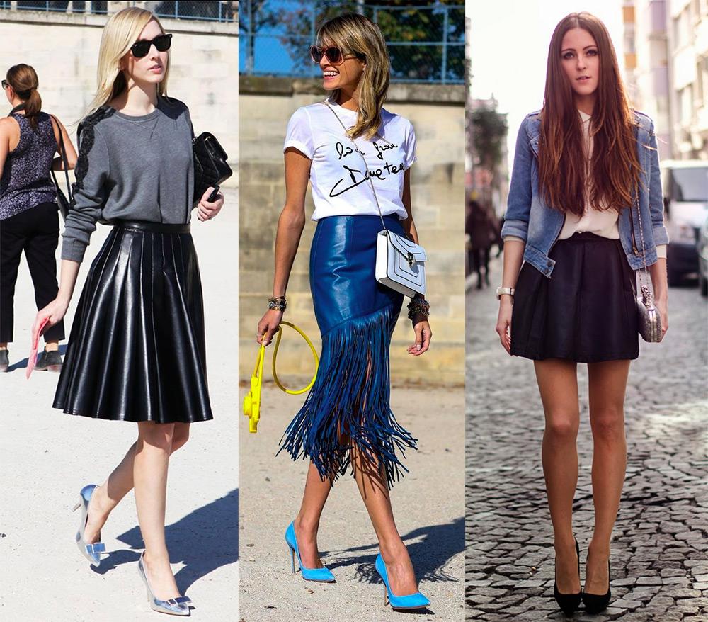 Эффектные варианты кожаных юбок