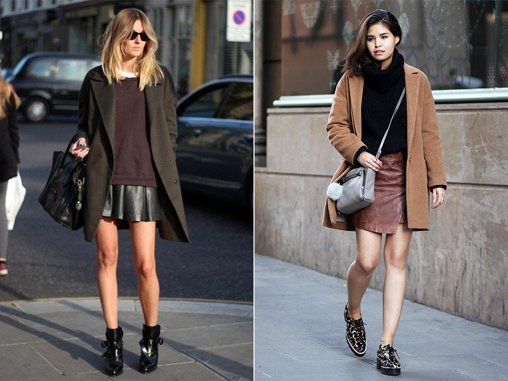 Образы с лаконичными вариантами кожаных юбок