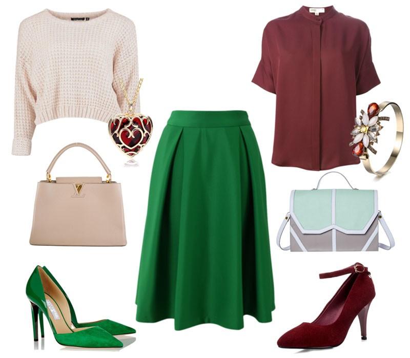 Комбинирование бордовой блузки и зелёной юбки