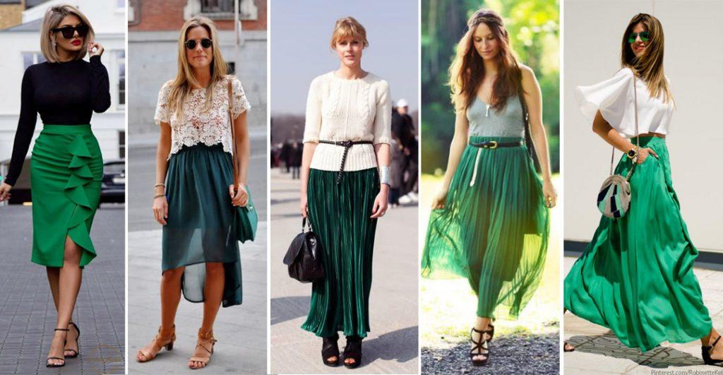 Варианты зелёных юбок