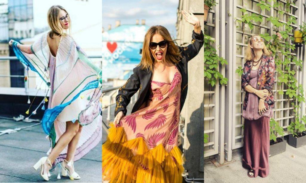 Различные яркие наряды Ксении Собчак