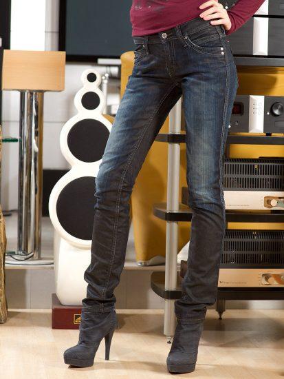 «Грязные» джинсы сине-серого цвета