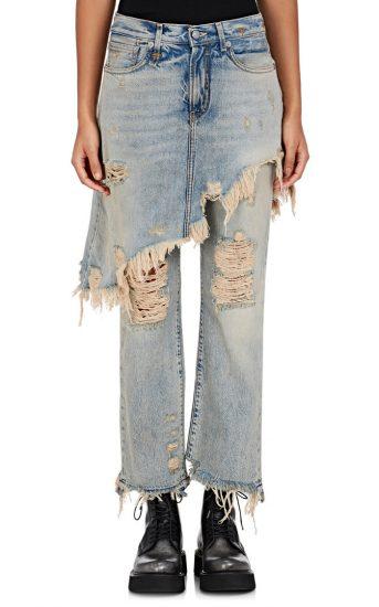 Грубоватые джинсы с юбкой
