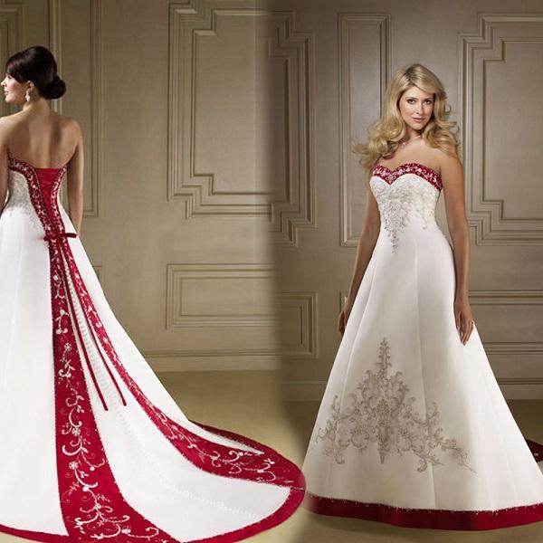 Белое свадебное платье с красными деталями