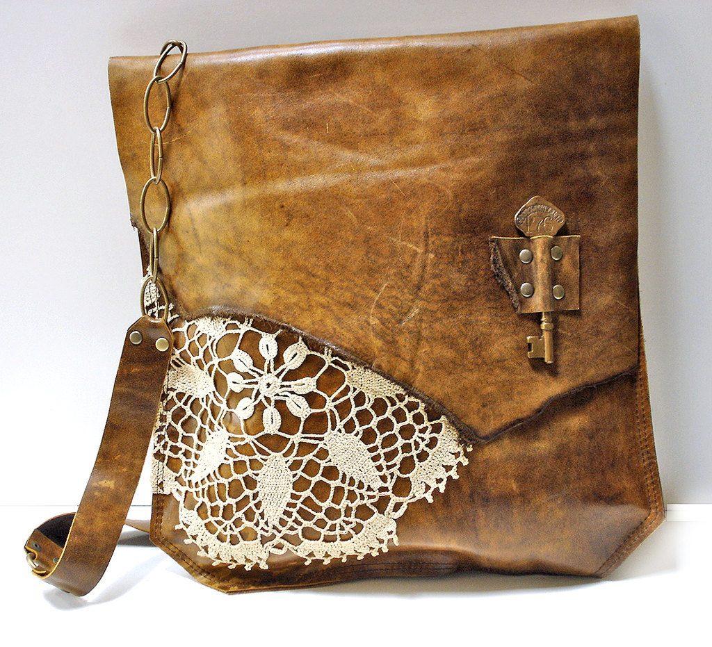 Кожаная сумка с кружевом