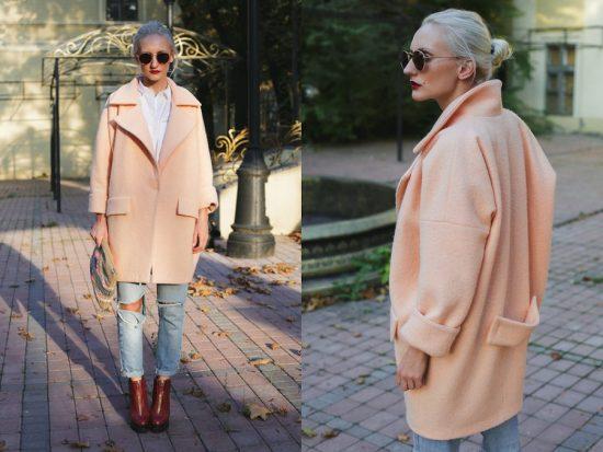Пальто-кокон персикового цвета