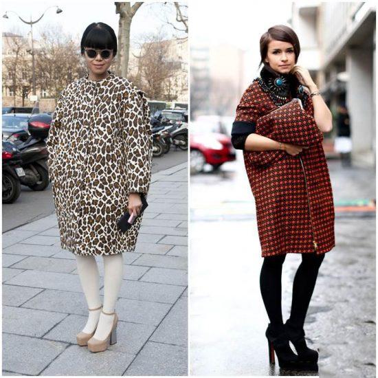 Принтованные модели пальто-кокон