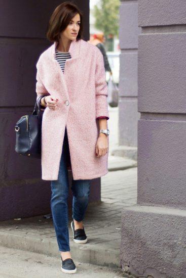 Свободное розовое пальто-кокон