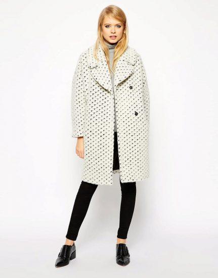 Чёрно-белое пальто-кокон