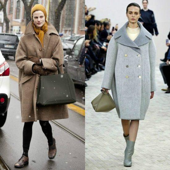 Серое и коричневое пальто-кокон