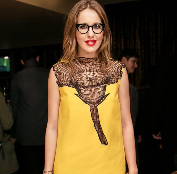 Ксения Собчак в жёлтом платье