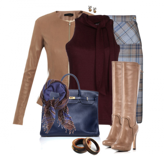 Клетчатая юбка и светло-коричневые сапоги