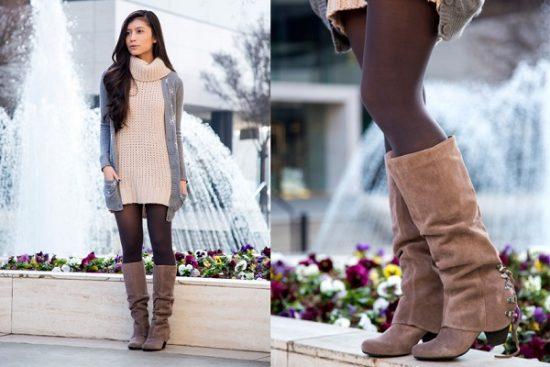 Коричневые сапоги и платье-свитер