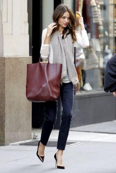 Бордовая элегантная сумка-шоппер