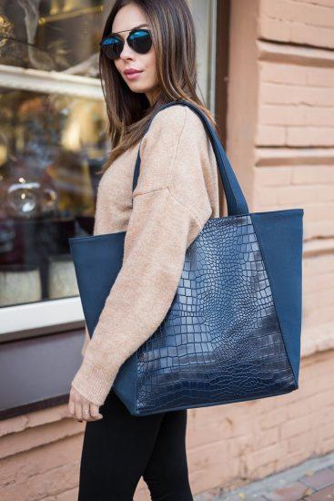 Синяя сумка-шоппер