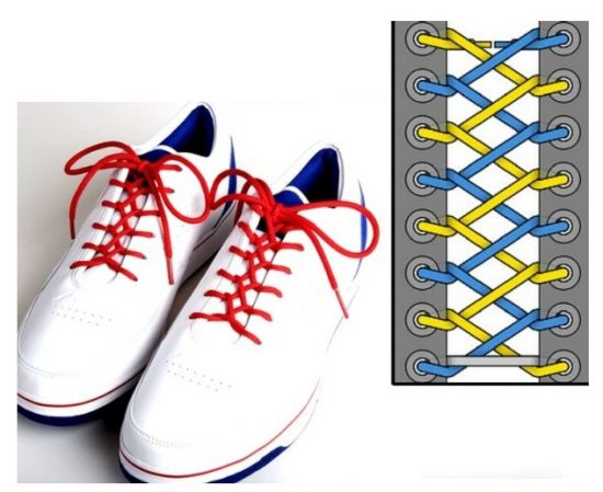 Интересная схема завязывания шнурков