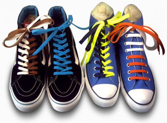 Кеды с разноцветными шнурками