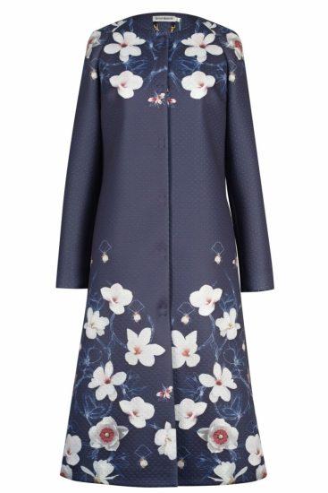 пальто с принтом цветов