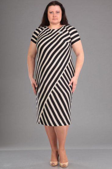 Чёрно-белое платье с широкими полосами