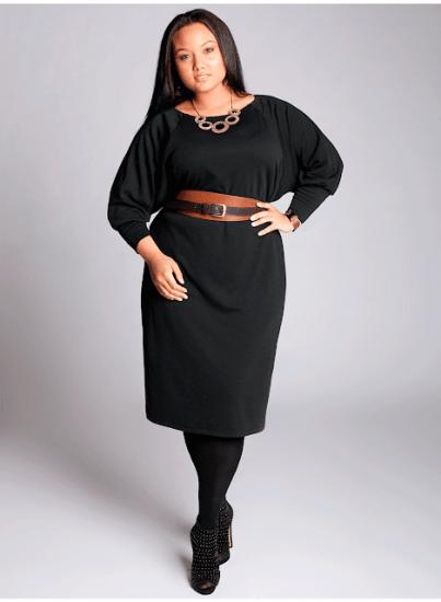 Чёрное платье с кожаным поясом