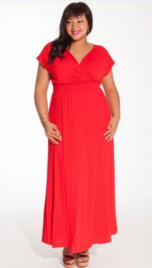 Красное платье с завышенной талией