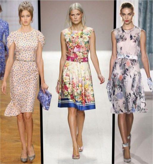 Фасоны платьев на модном показе