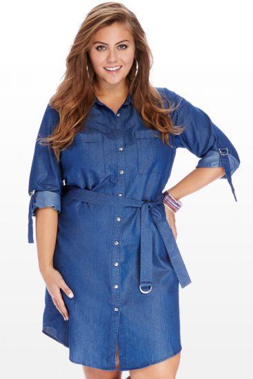 Фото девушки в джинсовом платье