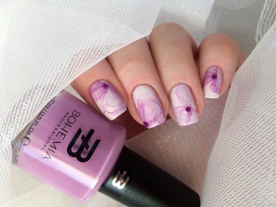 Сиреневый дизайн ногтей
