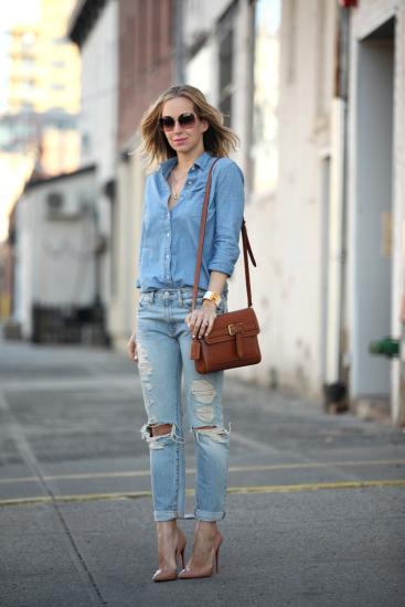 с чем носить джинсовую рубашку