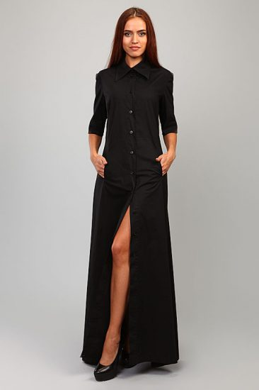 Длинное чёрное платье-рубашка