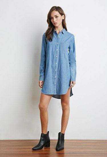 Свободное платье-рубашка